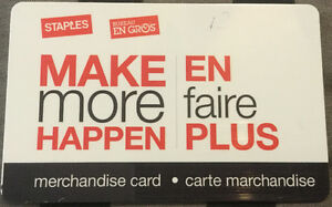 STAPLES MERCHANDISE CARD - VALUE  $ 870.00 - In Store Credit