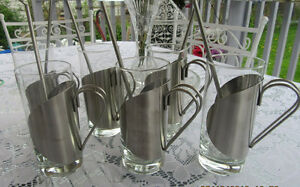 SIX STAINLESS STEEL LATTE HOLDERS 250 ml REDUCED