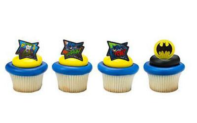 Batman cupcake rings (24) party favor cake topper 2 dozen