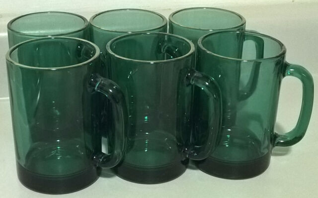 Vintage Juniper Green Glass Mugs