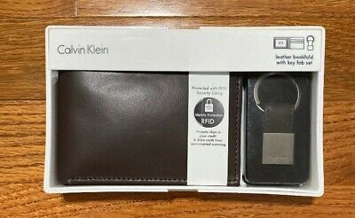 Calvin Klein Men's Leather Bifold Id Wallet Key Chain Set RFID Brown 79220