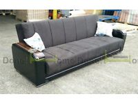 **14-DAY MONEY BACK GUARANTEE!** Talbot Turkish Fabric Sofabed with Wooden Arms Black and Brown