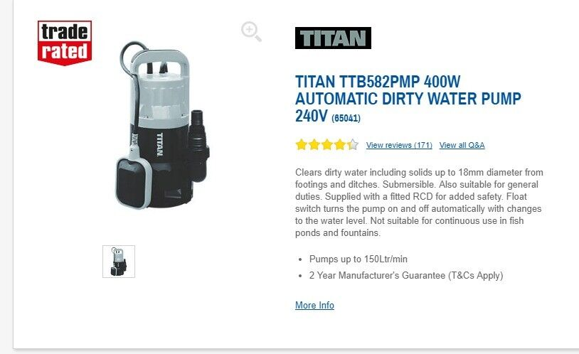 TITAN 400W AUTOMATIC DIRTY WATER PUMP 240V