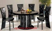 crystella dining table set with 6 chairs glass top wooden base Casula Liverpool Area Preview