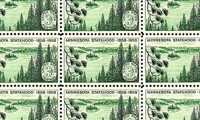 1958 - MINNESOTA STATEHOOD - #1106 Full Mint -MNH- Sheet of 50 Postage Stamps