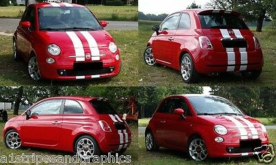 "All Year Fiat 500 500L 500X 6"" Plain Rally stripes Stripe Graphics Decal decals"
