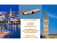 Split to London flight 4/11/17 - 1 to 4 tickets