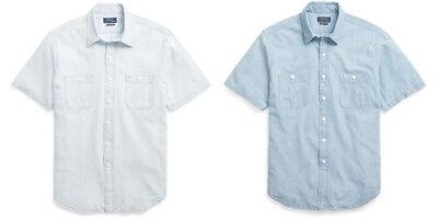 Mens Short Sleeve Denim - Polo Ralph Lauren Mens Classic Denim Indigo Chambray Button Short Sleeve Shirt