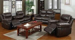 NEW YEARS SPECIALS ON NOW 3PCS RECLINER AIR LEATHER WITH CUP HOLDERS  SET $1099 LOWEST PRICE JUST A FEW SET LEFT