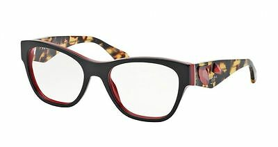 New Prada Eyeglasses Frame VPR07R 7I6 1O1 HAVANA Black/Red SZ 51 Women Fast Ship