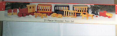 1992 Christmas Train Set Wooden Village Accessory 21 pc Engine Railway Decor