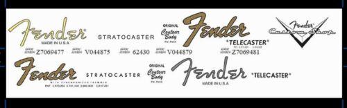 2 Fender Stratocaster and 2 Telecaster + 1 Custom Shop Waterslide Decal Logo