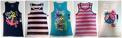 Girls Tank Top Ribbed Graphics, Solids, Striped Cotton, Cotton Blend Size 10-12