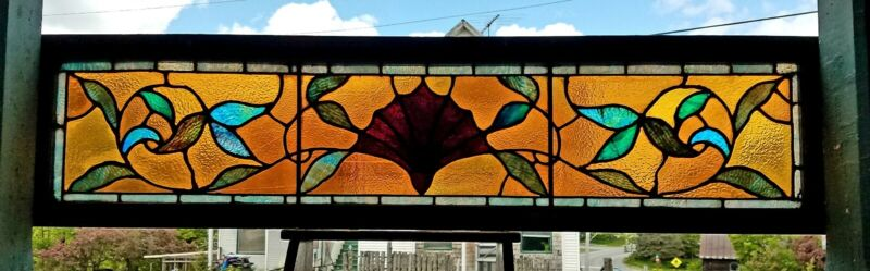 GREAT VICTORIAN STAINED GLASS TRANSOM WINDOW 16 by 65