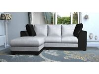 New Corner Sofa Settee Leather Fabric Right Hand Left Hand Side Stylish Design