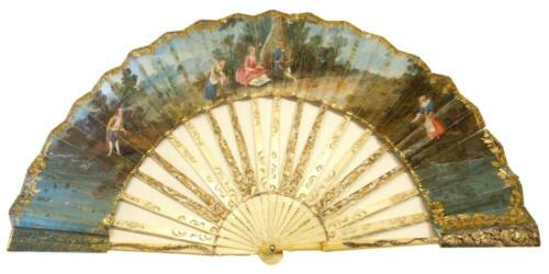 Antique 19th c. (or before) hand painted fan. Openwork with gold linkage.