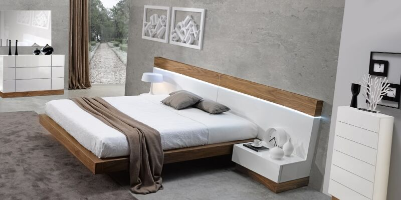Floating Design Walnut Natural White 5 Piece King Size Bedroom Set Furniture