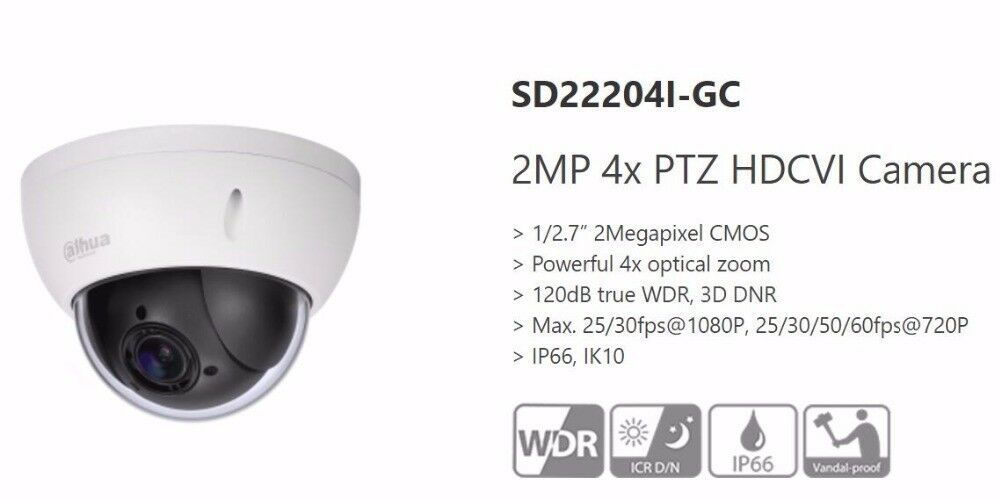Dahua OEM SD22204T-GN Mini PTZ Dome IP Camera 2 MP 4X Optical Full HD Network US