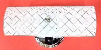 Vintage Bath Light - 1965 NEW VINTAGE White BATH Wall 2-Light Fixture CONVENIENCE OUTLET Puritan NOS