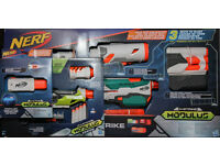 BNIB COLLECTION OF NERF GUNS AND ATTACHMENTS