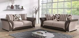 Shauna Luxury CHenile And Faux LEather 3&2 or CORNER Fabric Suite £399 FREE DELIVERY!!!