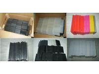 450 EMPTY DVD CASES - SINGLE & DOUBLE DISC - STANDARD & SLIMLINE SIZE - BLACK, CLEAR & COLOURED
