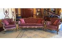 Antique French Louis 3 Piece Suite Carved Gold & Pink Draylon 3/4 Sofa Settee 2 Chairs silik Italian