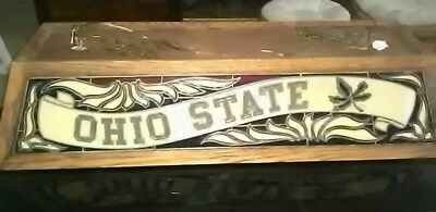 Ohio State Buckeyes Stained Glass - Ohio State Buckeyes Hanging Pool Table Light ** Large Size Stained Glass & Wood!