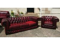 3 + 1 Antique Oxblood leather Chesterfield set