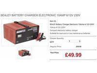 SEALEY BATTERY CHARGER ELECTRONIC 10AMP 6/12V 230V