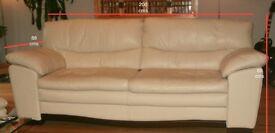 Cream leather living room suite