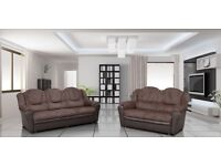 *COME AND VIEW IT ,TRY IT THEN BUY IT* BRAND NEW TEXAS 3+2 SOFA BROWN FABRIC FAST DELIVERY