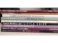 Selection of 9 piano, vocal, guitar, sheet music books