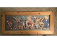 LARGE WOODEN FRAMED TEDDY BEAR PICTURE