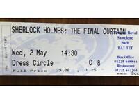 Bath Theatre Royal Ticket Sherlock Holmes Liza Goddard & Robert Powell
