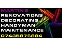Martin's Maintenance, handyman, renovations, decorating, resonable prices, free quote
