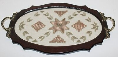 Vintage Retro mahogany Lefkara Lace Embroidery Tea Serving Tray [PL3552]