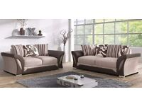 Sonia Luxury 3&2 Chenille & Bonded Leather Fabric Sofa Suite £399 Special Offer With Free Delivery!