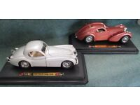 2 off Die cast Metal Model Cars, Jaguar XK 120 Coupe (1948) and Bugatti Atlantic (1936)