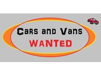cars or vans wanted for cash