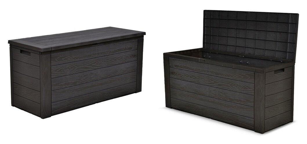 2x Gartenkissenbox Holzoptik Gartentruhe Auflagenbox Kissenbox Aufbewahrungsbox