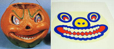 GLASSINE PAPER REPLACEMENT FACE - LARGEST  HALLOWEEN JOL PAPER MACHE LANTERN - Halloween Paper Lanterns