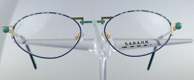 S.A.B.A.H.N 84 Brille Brillengestell Blau Gold Oval Damen Herren Eyeglasses NEU