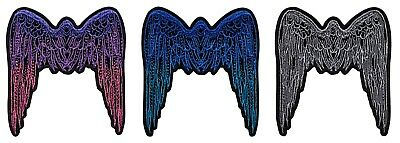 (Angel Wings Embroidered Iron On Patch - 3 INCH Biker Vest Cap Jesus Religious)