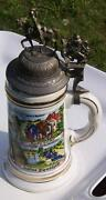 German Beer Lidded Stein Hand Painted