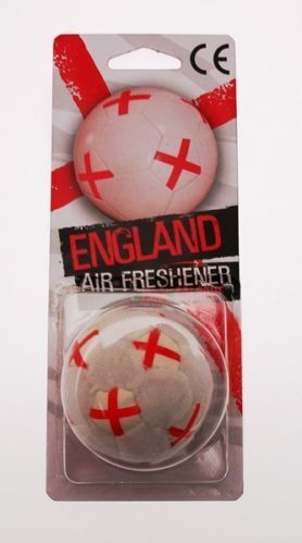 3D ENGLAND FOOTBALL SHAPED AIR FRESHENER COOL COLOGNE FREE HANGING ST GEORGE