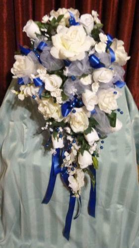 blue and white wedding bouquets ebay