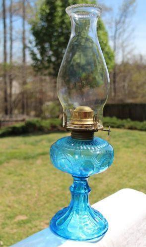 antique blue glass lamp ebay. Black Bedroom Furniture Sets. Home Design Ideas