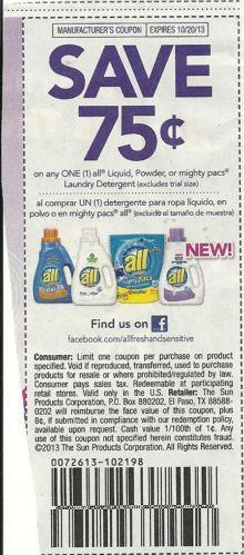 All Detergent Printable Coupons