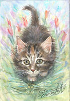 """Spring Kitten - collectible limited edition giclee print 12x16"""""""